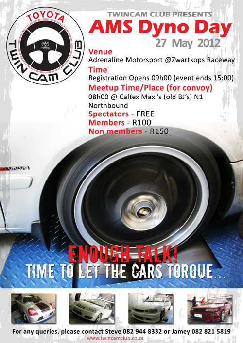 Next Event: Dyno Day @ AMS (27 May '12)