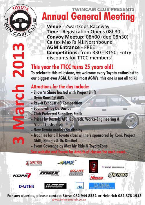 Next Event: AGM @ Zwartkops Raceway (03/03/2013)